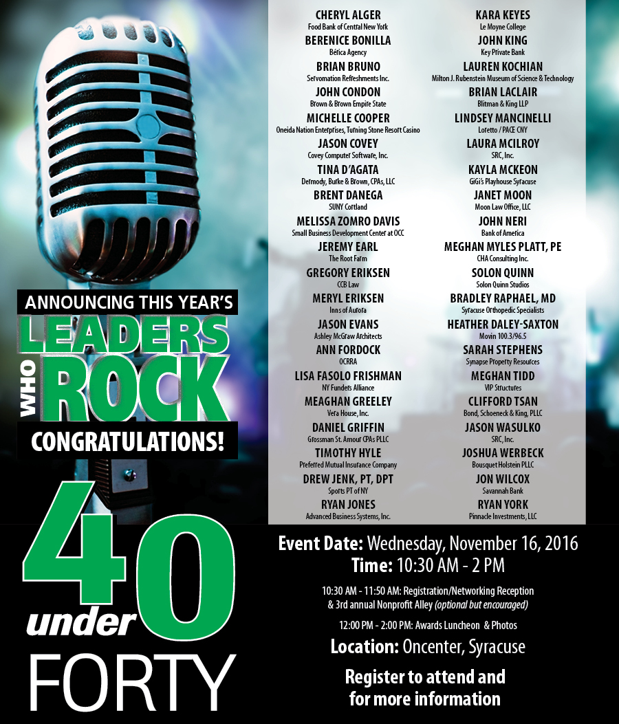 2016 40 under Forty winners
