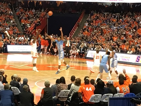 What channel is the Syracuse basketball game on? (at Duke)